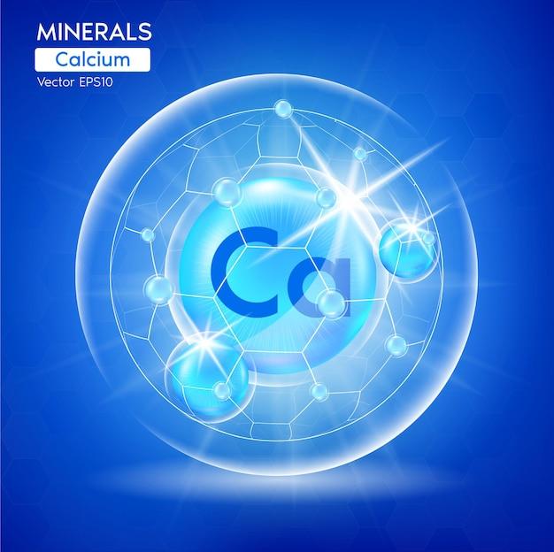 Minéraux calcium pour la santé. capsule de modèle de bannière pharmaceutique avec des minéraux bleus.