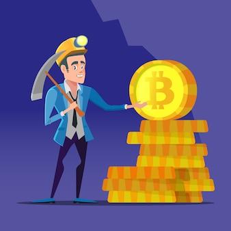 Mineur bitcoin cartoon réussi
