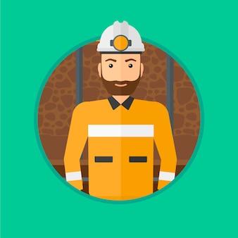 Mineur confiant dans le casque.
