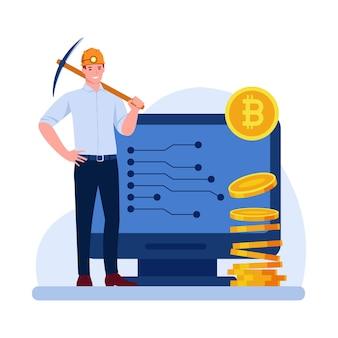 Un mineur mâle dans un casque de mineur avec une pioche pile de pièces de monnaie bitcoin moniteur d'ordinateur