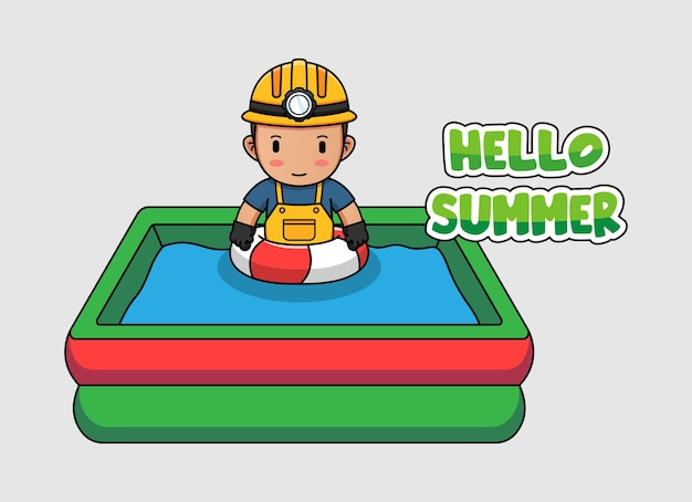 Mineur mignon nageant avec la bannière de voeux d'été bonjour