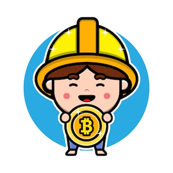 Mineur mignon tenant la conception de personnage de dessin animé bitcoin