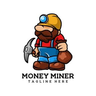 Mineur minier mine de pièces d'or industriel