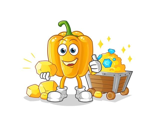 Mineur de paprika avec personnage de dessin animé d'or