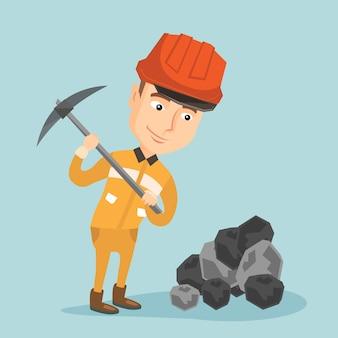 Mineur travaillant avec illustration vectorielle pioche.