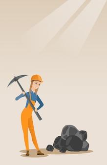 Mineur travaillant avec pioche
