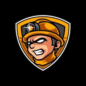 Mineurs e sport mascotte logo