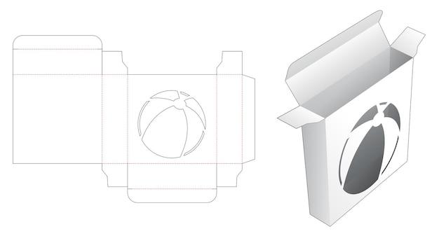 Mini boîte en fer blanc avec un gabarit de découpe de fenêtre en forme de boule