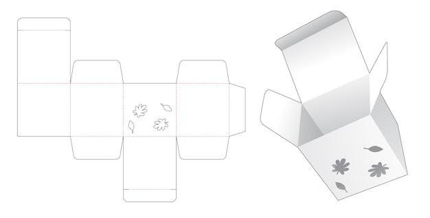 Mini boîte avec gabarit de découpe d'automne au pochoir