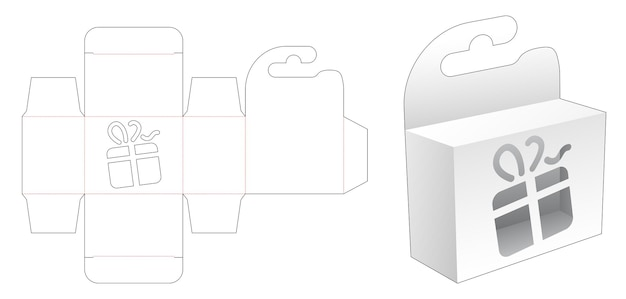 Mini boîte à suspendre avec gabarit de découpe au pochoir de boîte-cadeau