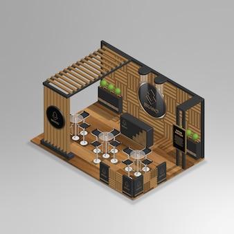 Mini café isométrique 3d réaliste