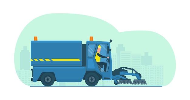 Mini camion balayeuse avec chauffeur. illustration vectorielle.