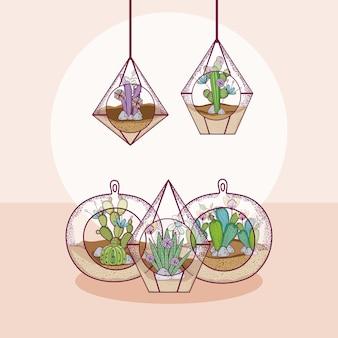 Mini gardesn dans le concept de dessins animés mignon de verre cristal