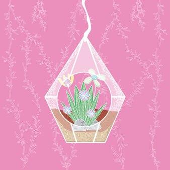 Mini jardin suspendu en cristal sur fond rose