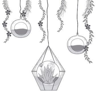 Mini jardin en verre de cristal moderne sur des couleurs grises et blanches