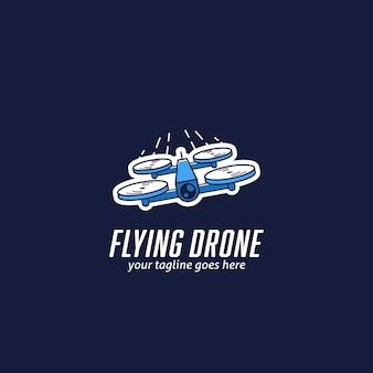 Mini logo de drone de course volant, logo de course de drone quadcopter rapide icône illustration vectorielle