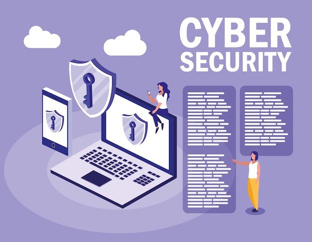 Mini personnes avec des appareils électroniques et la cybersécurité