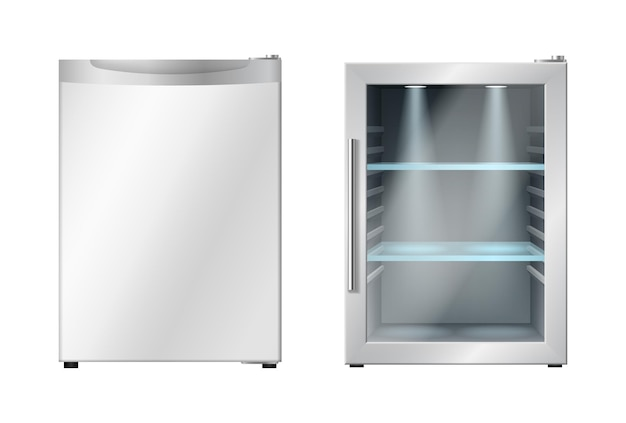 Mini réfrigérateur avec porte ouverte et fermée