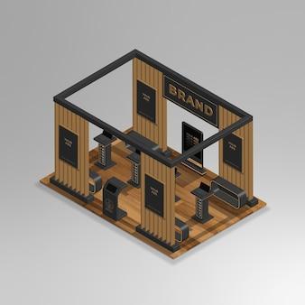 Mini salle d'exposition isométrique 3d réaliste