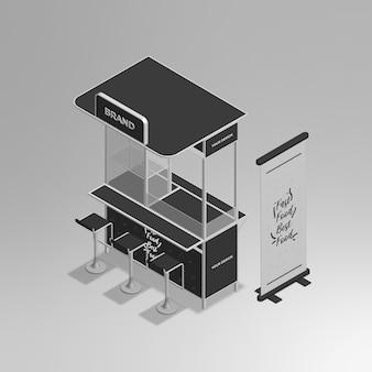 Mini stand isométrique 3d réaliste