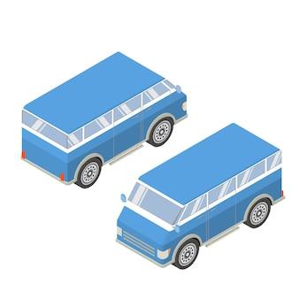 Mini vans touristiques isométriques.