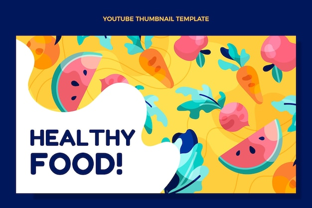 Miniature youtube d'aliments sains au design plat