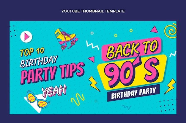 Miniature Youtube D'anniversaire Des Années 90 Dessinée à La Main Vecteur gratuit