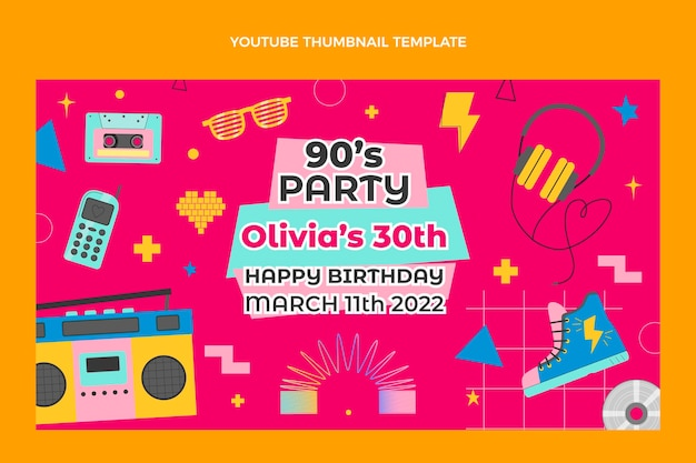 Miniature youtube d'anniversaire des années 90 dessinée à la main