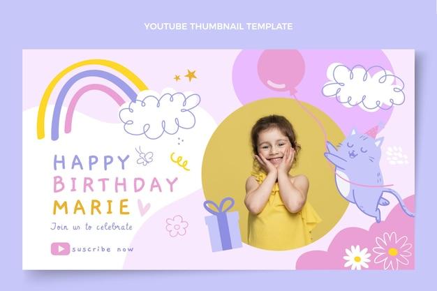 Miniature youtube anniversaire enfantin dessiné à la main