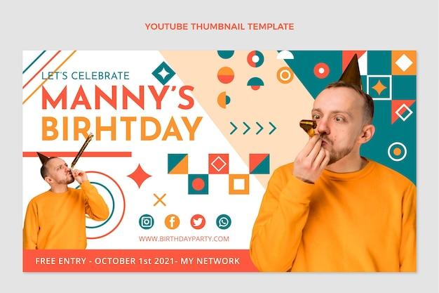Miniature youtube d'anniversaire en mosaïque design plat
