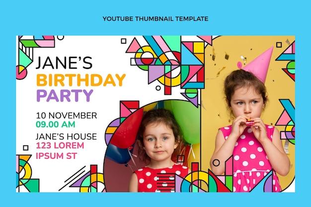 Miniature youtube d'anniversaire en mosaïque plate