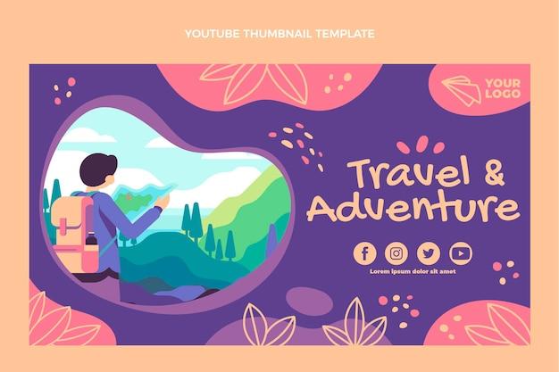 Miniature youtube d'aventure de voyage design plat
