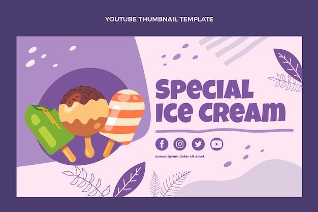 Miniature youtube de crème glacée spéciale design plat