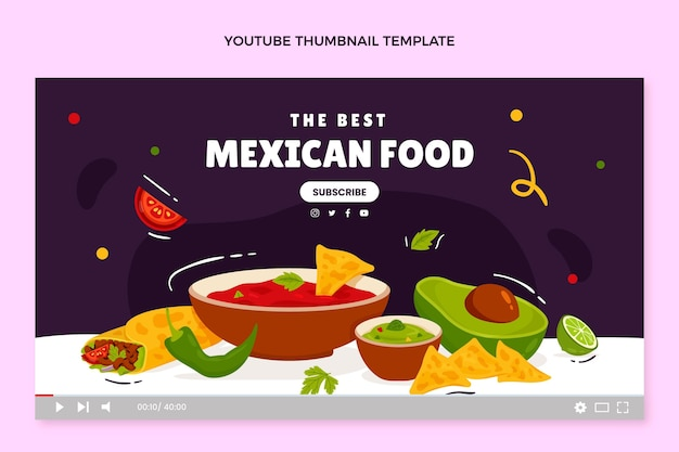 Miniature youtube de cuisine mexicaine dessinée à la main