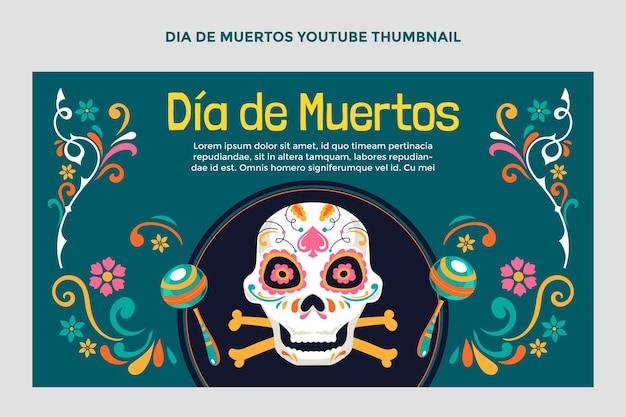 Miniature youtube dia de muertos plat dessiné à la main