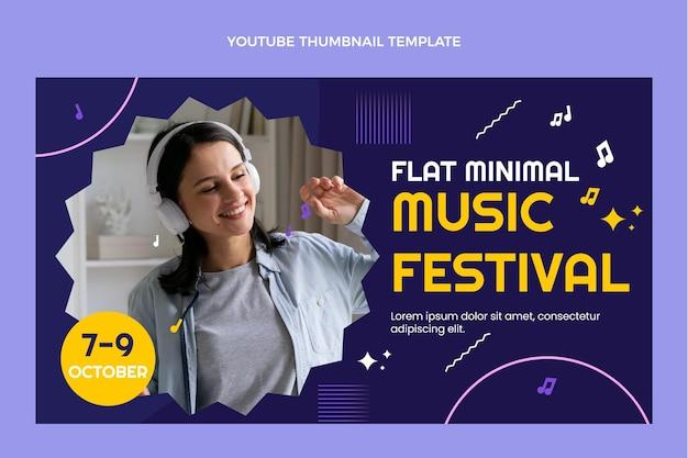 Miniature youtube du festival de musique minimal design plat