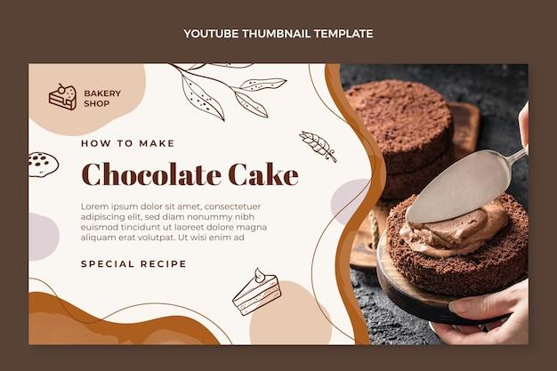 Miniature youtube de gâteau au chocolat dessiné à la main