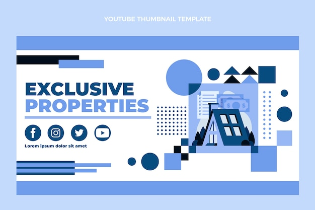Miniature youtube de l'immobilier géométrique design plat