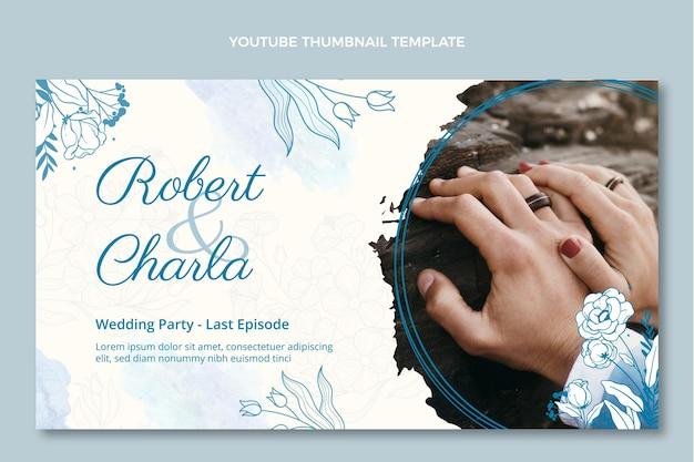 Miniature youtube de mariage aquarelle dessinés à la main