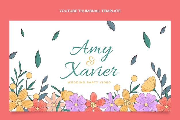 Miniature youtube de mariage floral dessiné à la main