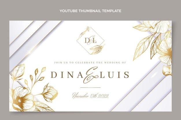 Miniature youtube de mariage d'or de luxe réaliste