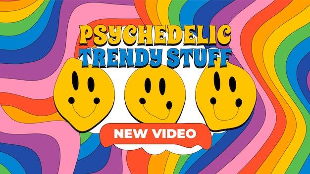 Miniature youtube psychédélique groovy plat dessiné à la main