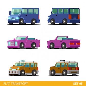 Minibus cabriolet cabriolet coupé universel voiture familiale transport drôle ensemble plat