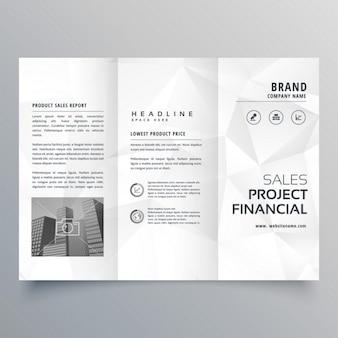 Minimal polygone gris abstrait façonne brochure à trois volets modèle