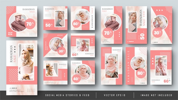 Minimalist pink social media instagram feed post and stories ramadhan fashion sale banner