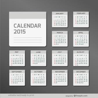 Minimaliste 2015 calendrier