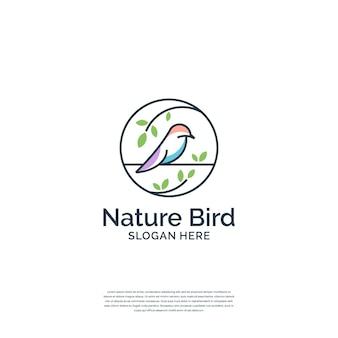 Minimaliste combine oiseau et nature avec un modèle de logo de style art en ligne.