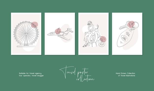 Un minimum d'illustrations vectorielles de voyage dessinés à la main pour l'art mural ou la conception d'affiches