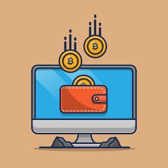 Mining bitcoin sur l'ordinateur. illustration de dessin animé