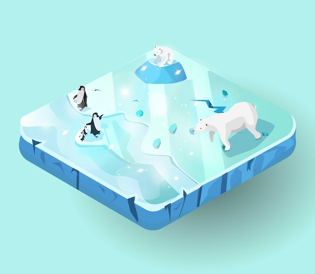Miniworld of ice island ou morceau de terre vue isométrique
